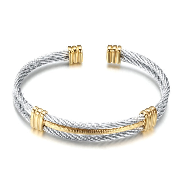Stainless Steel Cable Wire Cuff Bracelet