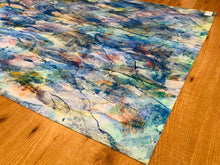"Hand Painted Floor Cloth 55.5""x32"" - Blues"