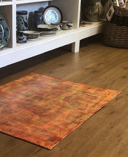 Hand Painted Floor Cloth - Orange/Green/Yellow Grids - Handworks Gallery