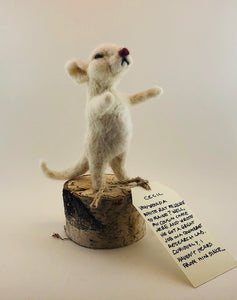 Cecil the Felted Mouse w/ Birch Stand