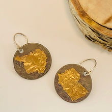 Oxidized Silver Keum-Boo Large Disc Earrings