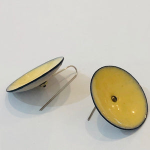 Pale Yellow Enamel Disc Earrings - Handworks Gallery