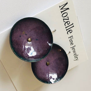 Plum Enamel Disc Earrings - Handworks Gallery
