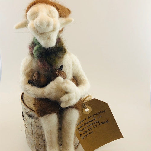 'Timothy Elvington' Felted Character w/ Birch Stand