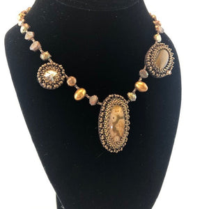 Swarovski Crystal, Jasper & Tiger Eye Necklace w/ Pearls