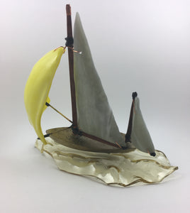 Sailing with a Yellow Spinnaker. Glass & Bronze Sculpture - Handworks Gallery