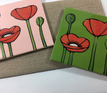Hand Painted Poppy Tiles - Handworks Gallery