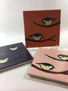 Hand Painted Chickadee Tiles - Handworks Gallery