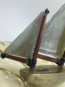 Sailing with a Yellow Spinnaker. Glass & Bronze Sculpture