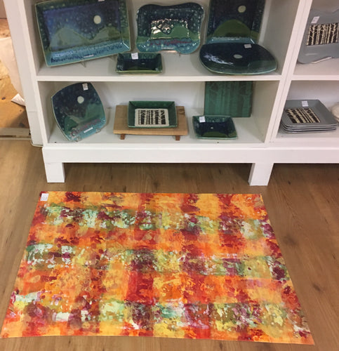 Hand Painted Floorcloth - Red & Orange Speckled Grid - Handworks Gallery