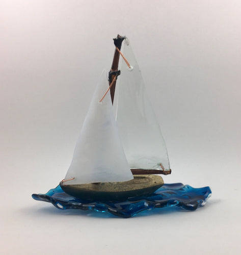 Sailing on a Blue Sea. Glass & Bronze Sculpture - Handworks Gallery