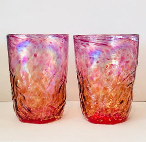 Set of 2  Mountain Trails Tumblers (Ruby/Orange) - Handworks Gallery