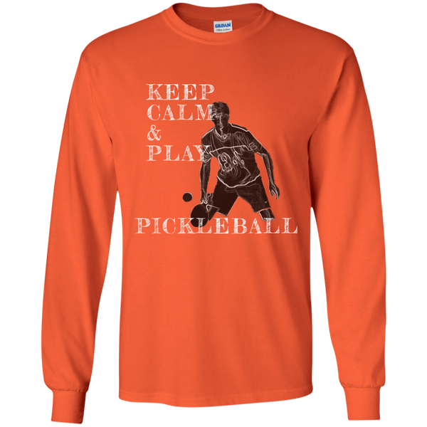 Keep Calm Play Pickleball G240 Gildan LS Ultra Cotton T-Shirt