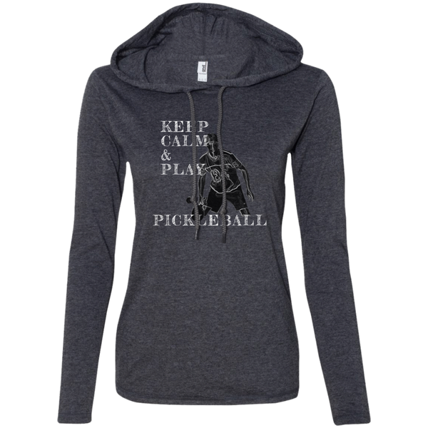 Keep Calm Play Pickleball 887L Anvil Ladies' LS T-Shirt Hoodie