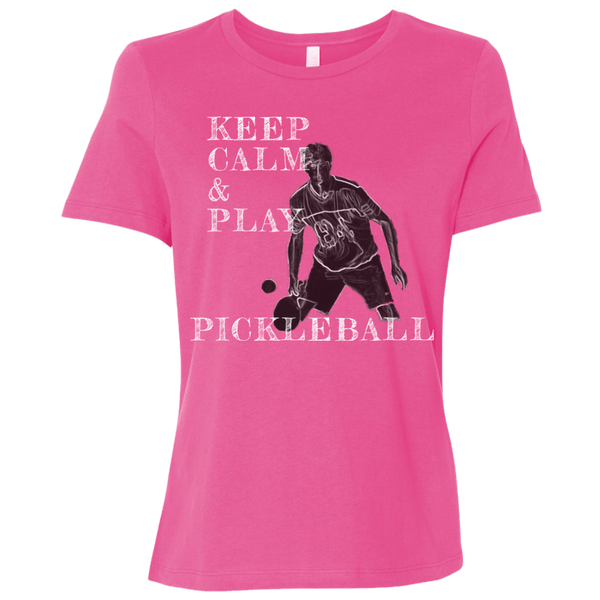 Keep Calm Play Pickleball B6400 Bella + Canvas Ladies' Relaxed Jersey Short-Sleeve T-Shirt