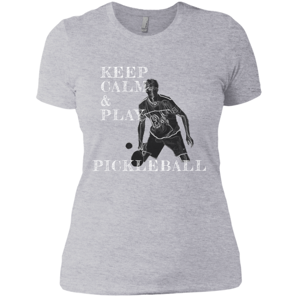 Keep Calm Play Pickleball NL3900 Next Level Ladies' Boyfriend T-Shirt