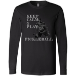 Keep Calm Play Pickleball 3501 Bella + Canvas Men's Jersey LS T-Shirt