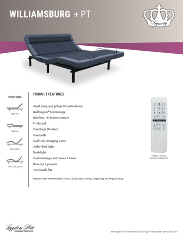 "New! Leggett & Platt-Williamsburg Plus Adjustable Base with 15.5"" AtlantisBreeze Gel Memory Foam Mattress"