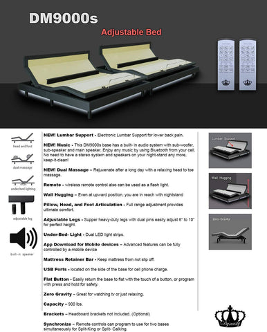 "DM9000s Adjustable bed SET 14"" inch GEL Memory Foam Mattress"