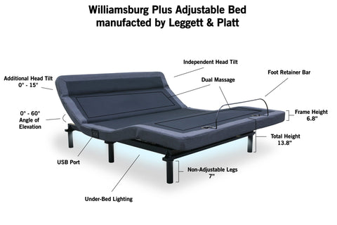 "Leggett & Platt - Williamsburg Plus Adjustable Bed with 12"" CoolBreeze Gel Mattress - DynastyMattress"