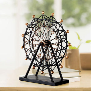 Handmade Reminiscent Iron Art Ferris Wheel Model Metal Craft Accessories Embellishment Furnishing for Home Decor and Gift