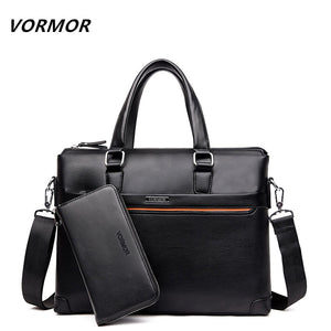 VORMOR 2 Set Handbag Men Messenger Bags PU Leather Man Bags Fashion Male Men's Briefcase Man Casual  Shoulder Bag