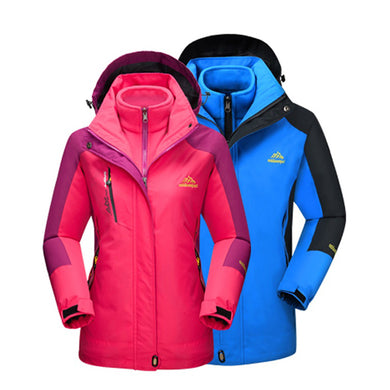 2018 Men Women Winter Inner Fleece Warm 2 Pieces Outdoor Sports Brand Coats Hiking Camping Trekking Skiing Female Jackets