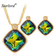 Starlord Jewelry Sets For Women Gift Fancy Stud Earrings And Necklace Set Gold Color Wedding Austrian Crystal Jewelry Set PE344