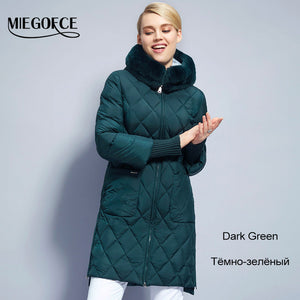 2018Miegofce New Collection Winter Womens Jacket Coat Original Fur Collar Women Parkas Fashion Brand Womens Cotton Padded Jacket