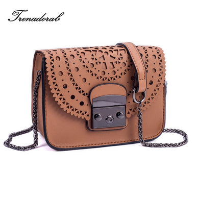 Trenadorab 2017 Fashion small bag Hollow Out Women Crossbody Bag Soft Leather handbags Purse Clutches Brand womens Shoulder Bags