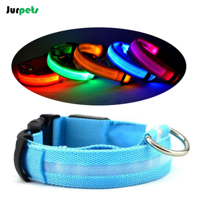 Nylon Night Safety Led Dog Collar USB Charging Collars for Large Small Dogs Cats Luminous Electric Neck Ring Washable