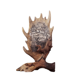 SaiDeKe Medium European style vintage Christmas deer figurine craft retro Elk antlers Miniatures for Home decoration accessories