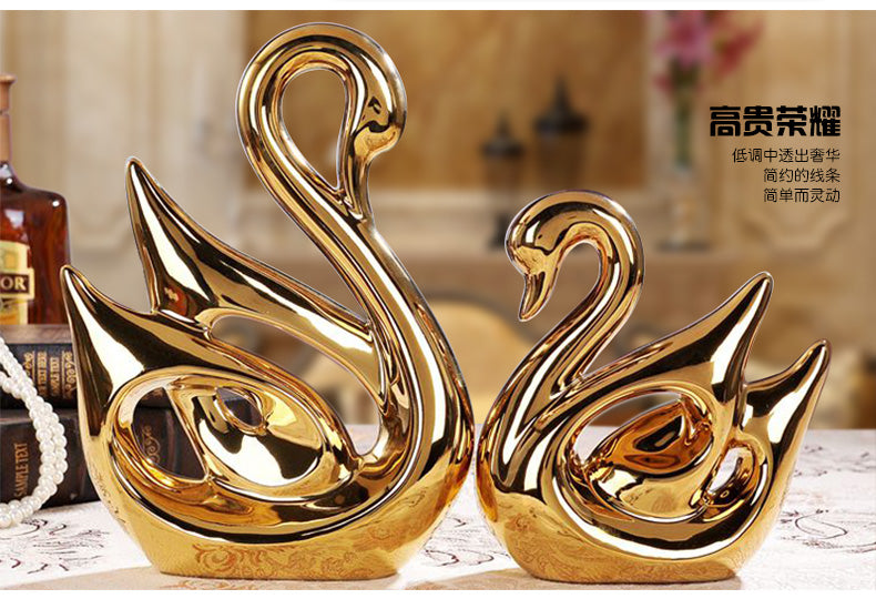 ceramic gold plated one pair loves swans model,Figurines Home accessories decoration creative wedding gift birthday gift a1800