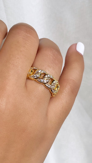 Crystal Cuban Link Ring | Gold