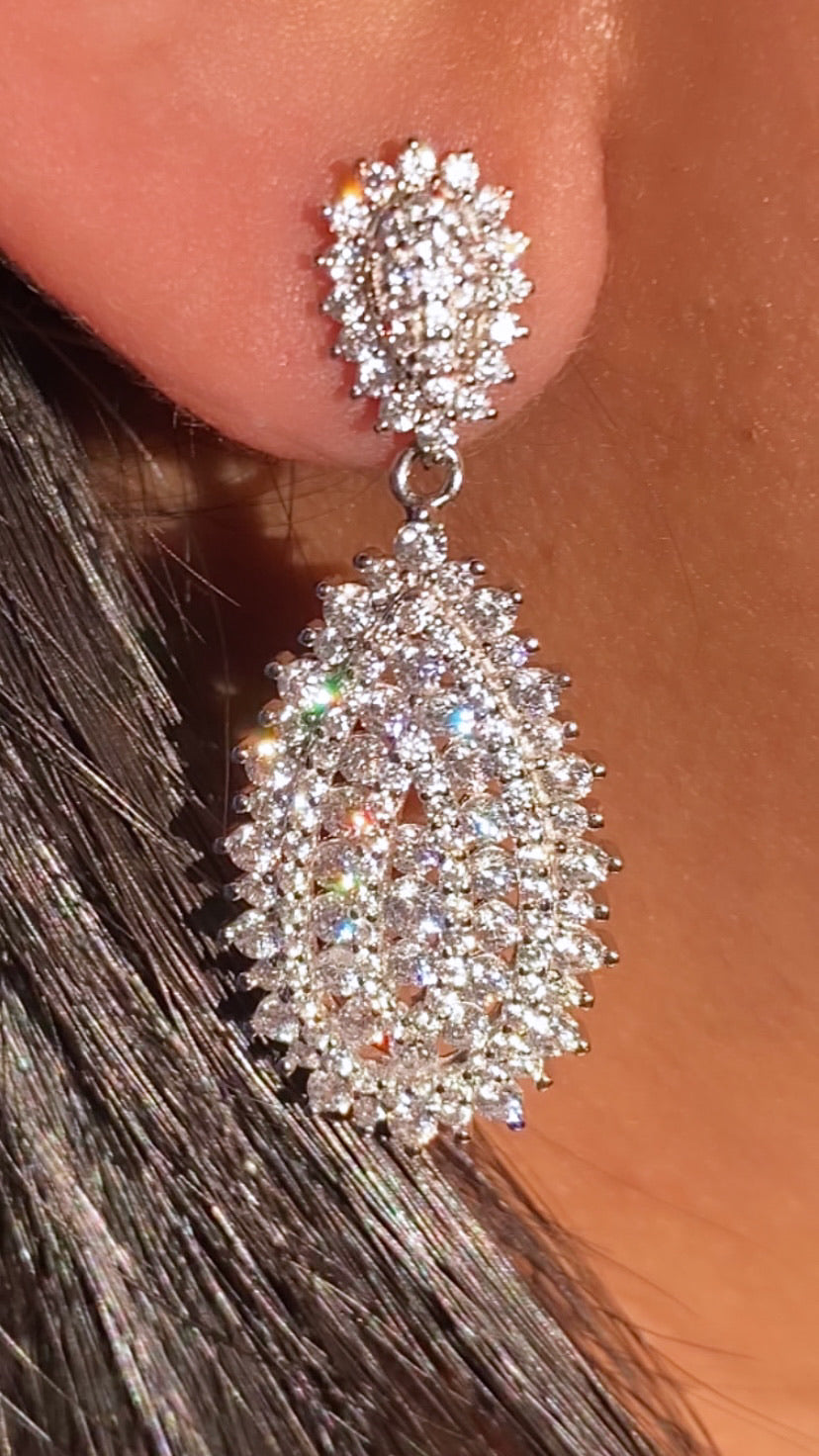 Encrusted Tear Drop Earrings  925 Sterling Silver   Named after: @biancafash