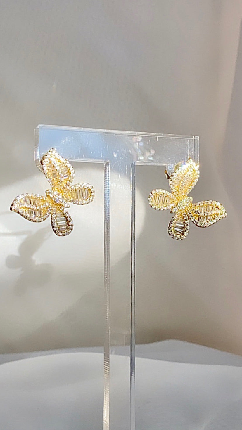 Butterfly Stud Earrings  925 Sterling Silver  Gold  All jewelry sales are Final.