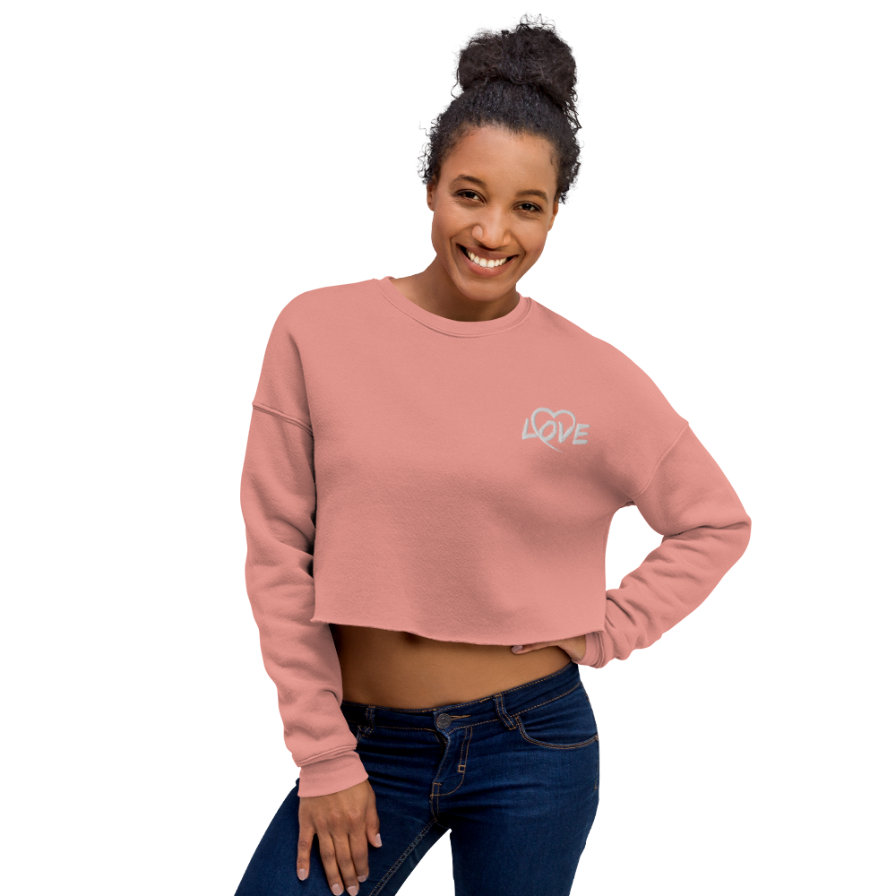Embroidered Love Crop Sweatshirt