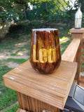 Two Toned Wood Grain Stainless Steel Tumbler