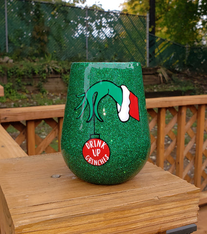 Ready to Ship Drink Up Grinches Glitter Stainless Steel Tumbler