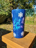 Let It Snow Glitter Stainless Steel Tumbler