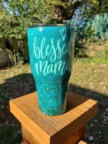 Ready to Ship Blessed Mama Glitter Stainless Steel Tumbler