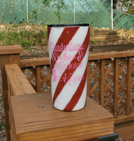 Ready to Ship Candy Cane Glitter Stainless Steel Tumbler