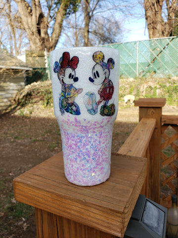 Custom Mickey & Minnie Glitter Stainless Steel Tumbler