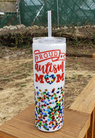 Autism Awareness Custom Glitter Stainless Steel Tumbler