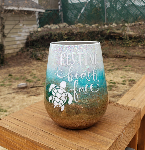 Beach Lover Glitter Custom Stainless Steel Tumbler