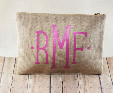 Monogram Burlap Makeup Bag