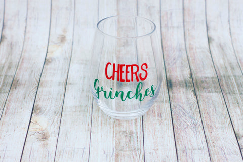 Cheer Grinches Christmas Stemless Wine Glass 15 oz