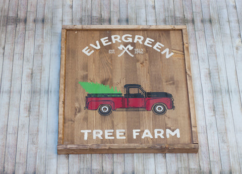 Red Vintage Truck Double Sided Hand Painted Wood Sign