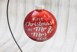 First Christmas as Mr and Mrs  Engagement  Glitter Glass Ornament