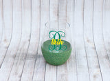 Initial Glitter Stemless Wine Glass